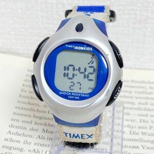 ★TIMEX IRONMANKIDS デジタル 多機能 腕時計 ★タイメックス アイアンキッズ アラーム クロノ タイマー シルバー 稼動品 F4307