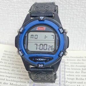 ★ COLEMAN デジタル 多機能 腕時計 ★ コールマン アラーム クロノ タイマー ブラック 稼動品 F4313