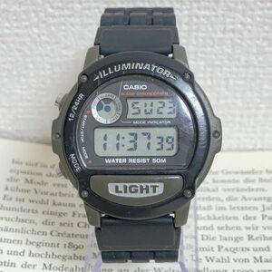 ★CASIO ILLUMINATOR デジタル 多機能 腕時計 ★カシオ イルミネーター 2針 W-87H アラーム クロノ ブラック 稼動品 F4344