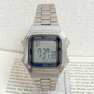 ★CASIO ILLUMINATOR 多機能 デジタル 腕時計 ★カシオ イルミネーター A178W アラーム クロノ シルバー 稼動品 F4357