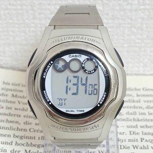 ★CASIO ILLUMINATOR 多機能 デジタル 腕時計 ★カシオ イルミネーター W-E11 アラーム クロノ タイマー シルバー 稼動品 F4358