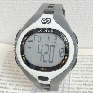 ★SOLEUS 多機能 デジタル メンズ 腕時計★ ソリアス アラーム クロノ タイマー グレー×ホワイト 稼動品 F4400