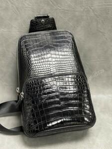 高級志向/最高級品 新作 ワニ革保証 クロコダイル 総本革 レザー 腹部革 メンズ 斜め掛け ショルダーバッグ ボディバッグ 鞄 黒