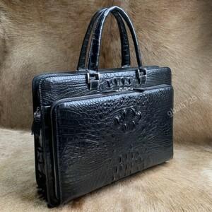 大容量 クロコダイル レザー ワニ革本物 多機能 A4書類対応 ビジネス 鞄 ブリーフケース 出張用 通勤 メンズ ハンドバッグ 黒