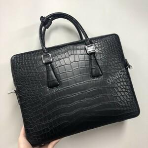 定価20万円超 マットクロコダイル ワニ革 本革 レザー 腹革使用 ビジネス 手提げ 鞄 A4/PC対応 メンズ ハンドバッグ 黒