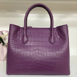 超キレイ おススメ レディースバッグ クロコダイルレザー ワニ革 バッグ 2way斜め掛けショルダーバッグ ハンドバッグ 紫