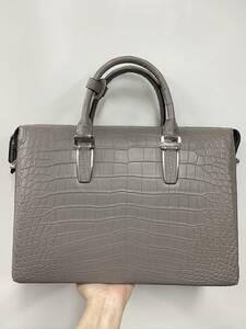 極上品 クロコダイルレザー ワニ革 バッグ 2way斜め掛けショルダーバッグ A4書類対応 ビジネス バッグ ハンドバッグ グレー