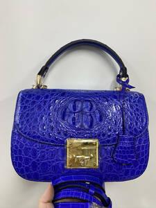 美品 クロコダイル ワニ革 ハンドバッグ トートバッグ かばん レディース鞄 ゴールド金具 手提げ バッグ ショルダーバッグ 可愛い 青色