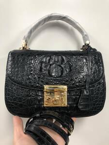 美品 クロコダイル ワニ革 ハンドバッグ トートバッグ かばん レディース鞄 ゴールド金具 手提げ バッグ ショルダーバッグ 黒