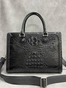 大容量 クロコダイル ワニ革本物 多機能 A4書類対応 ビジネス 鞄 本革 ブリーフケース 出張用 メンズ ハンドバッグ 黒