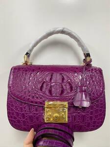 美品 クロコダイル ワニ革 ハンドバッグ トートバッグ かばん レディース鞄 ゴールド金具 手提げ バッグ ショルダーバッグ 可愛い