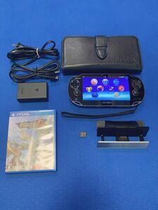PS Vita PCH-1000 psvita本体 充電器 ゲームソフト スタンド 保護ケース 16GBメモリーカード 付き、中古品