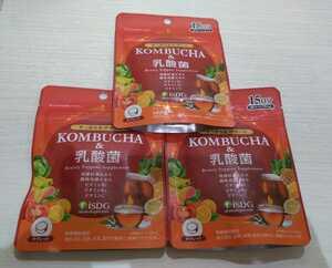 【新品・3袋セット】KOMBUCHA&乳酸菌 15日分(105粒)×3袋セット コンブチャ 紅茶エキス タブレット ダイエットサプリ