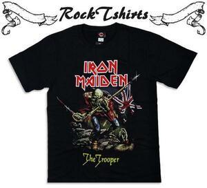 新品 ロックTシャツ IRON MAIDEN The Trooper アイアンメイデン バンドTシャツ パンクT メタルT メンズ 黒色 gts005 Sサイズ