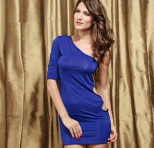 超セクシー ミニスカワンピース(ショーツ付き)ワンショルダー ベビードール コスプレ衣装 ブルー