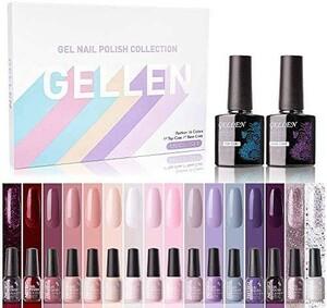 人気!_Gellen ジェルネイル カラージェル 16色セット UV/LED対応 ポリッシュタイプ Y16097