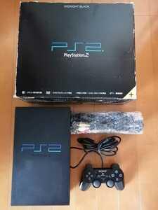 美品 SONY PS2 PlayStation2 プレステ2 本体1式 PS2 SCPH-50000 ミッドナイトブラック プレステ2 動作確認済 外箱、説明書