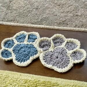 ワンコの足型 二枚組 コースターかぎ針編み ハンドメイド