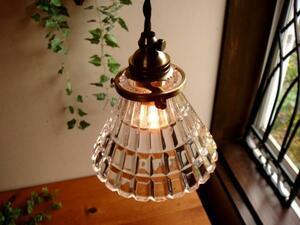 ガラスペンダントランプ60真鍮1灯照明ライトアンティークレトロ