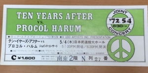 【CT4】テン・イヤーズ・アフター VS プロコル・ハルム 半券チケット 日本武道館 1972年 C席 /ロック・エクスプロージョン