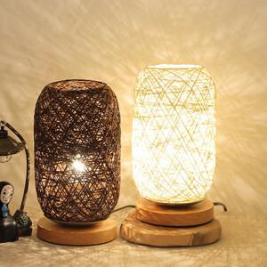 ◆1円スタート◆ テーブルランプニット 木材 籐ひも 寝室 照明 スタンド Usb Led ナイトライト インテリア AT11608
