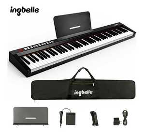 Ingbelle 電子ピアノ 88鍵盤 キーボード MIDI 卓上譜面台 練習用多機能 MIDIキーボード バッテリー内蔵 練習 初心者 持ち運び
