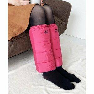 ミズノ MIZUNO 2足組 レッグウォーマー 中綿 プリントロゴ レディース 未使用品 ピンク Mサイズ 軽量 撥水 断熱加工 洗濯