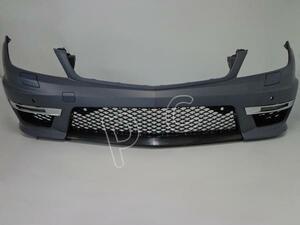 ◆ ベンツ W204 / C204 C180 C200 C250 C350 → C63 AMG 後期 LOOK フロント バンパー デイ ライト フォグ ランプ グリル ボディ キット