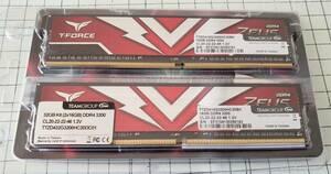 1043-1044 新品 TEAM T-FORCE ZEUS TTZD432G3200HC20DC01-EC 16GB 2枚 DDR4-3200 PC4-25600 デスクトップ用