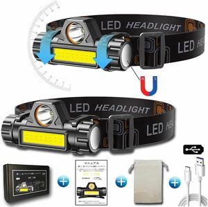 2個セット 充電式 ledヘッドライト 高輝度 超軽量 IPX6防水 角度調整可