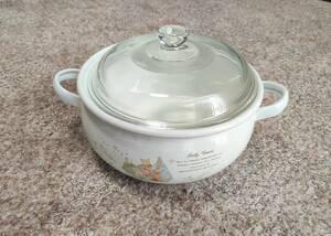 新品未使用 ホーロー鍋 両手鍋 約22cm x 約9cm ガラス蓋 昭和レトロ
