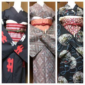 愛くるしいアンティーク着物 袖長め 昭和レトロ しつけ糸付き含む リメイクリフォームにも セット売り 年代物 ビンテージ
