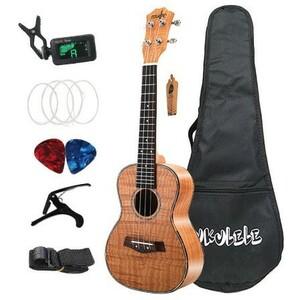 U1065:コンサート ウクレレ セット 23インチ タイガー織り Okoume ウッド アコースティック ウクレレ 4弦 ハワイアンギター 楽器