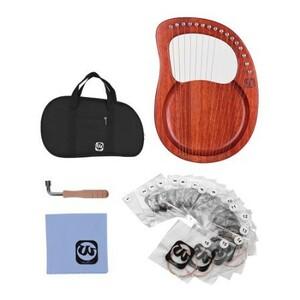 U1027:16弦 木製 竪琴ハープ メタル弦 マホガニー 無垢 弦楽器 バッグ チューニングレンチ 弦