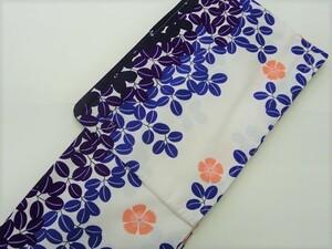 きもの 洗える 着物 単衣 バチ衿 白地 青 紫 萩 花柄 401