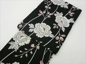 きもの 洗える 着物 単衣 バチ衿 黒地 白 牡丹 萩 花柄 397