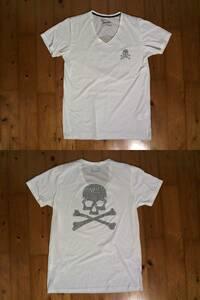★バロックジャパン★Down by Law★Vネック 半袖Tシャツ スカル ラインストーン L 白 ホワイト