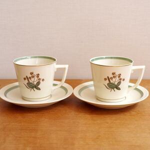 【ビンテージ】 2客セット ロイヤルコペンハーゲン Royal Copenhagen Quaking Grass コーヒー カップ ソーサー