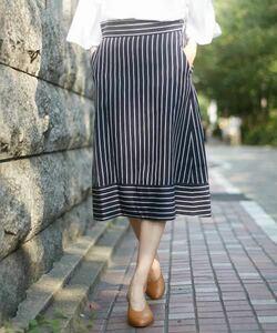 ¥19800 即決 新品 Abahouse Devinette リネンレーヨンストライプスカート 38 Mサイズ アバハウスドゥビネット ロングスカート ネイビー 紺