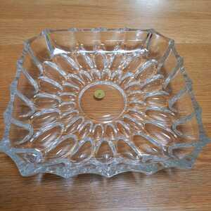 即決 HOYA GLASS WORKS 昭和レトロ 大皿 角皿 20センチ四方 フルーツ水菓子皿