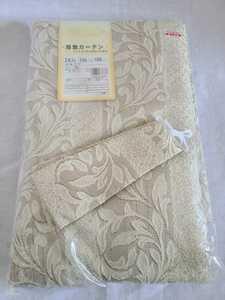 未使用 アウトレット 厚地カーテン ドーマ 100×105cm 2枚入 洗濯可能 フック付 カラーBE  植物柄