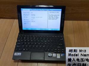 M13・Atom:1.66GHz・メモ:1024MB・HDD無し・起動可・バッテリ使用不可・レノボ ノートパソコン