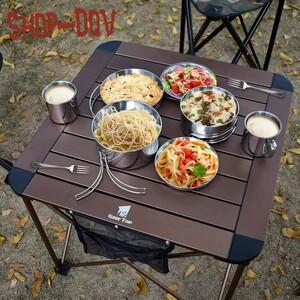 折りたたみ ロール テーブル アルミ メッシュポケット 収納バッグ ソロ キャンプ BBQ 持ち運び デスク