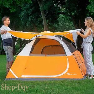 4人用 テント 設営簡単 キャンプ ツーリング 3人用 自立式 テント 防災 花見 BBQ 避難 オレンジ