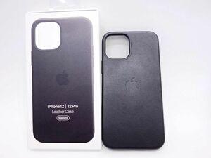 115s ●Apple MagSafe対応 iPhone 12/iPhone 12 Pro レザーケース ブラック MHKG3FE/A ※中古