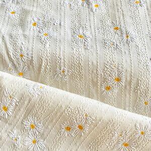 コットンレース 刺繍レース コットン100% 綿100% はぎれ マーガレット 生成り 黄色