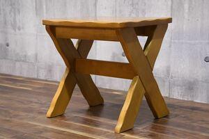 AEC17 karimoku カリモク RUSTIC ルスティック スツール 腰掛け カントリー チェア 椅子 検) 飾り台 花台 サイドテーブル ベンチ 家具 飾台