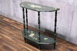 AEC16 クラシック 花柄 コンソールテーブル 2段 飾り棚 飾り台 花台 検) 輸入家具 サイドテーブル サイドボード