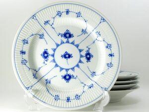 ロイヤルコペンハーゲン プレート■ブルーフルーテッド プレインレース スーププレート ボウル 深皿 5枚セット 1級