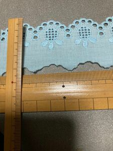 ハンドメイド、綿レース、水色、約4cm×100cm